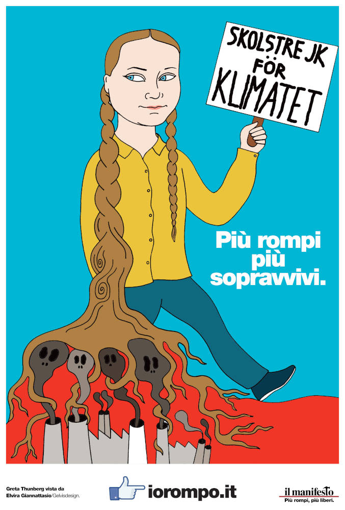 Illustrated portrait of Greta Thunberg for the newspaper Il Manifesto