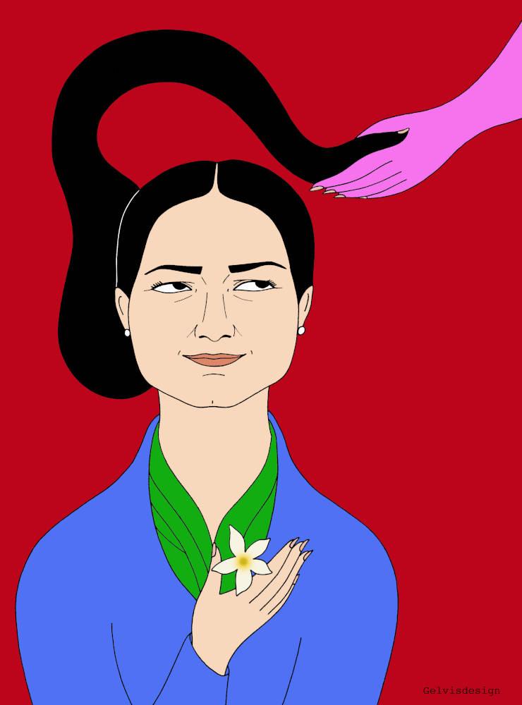 Illustrated portrait of Hewrin Khalaf