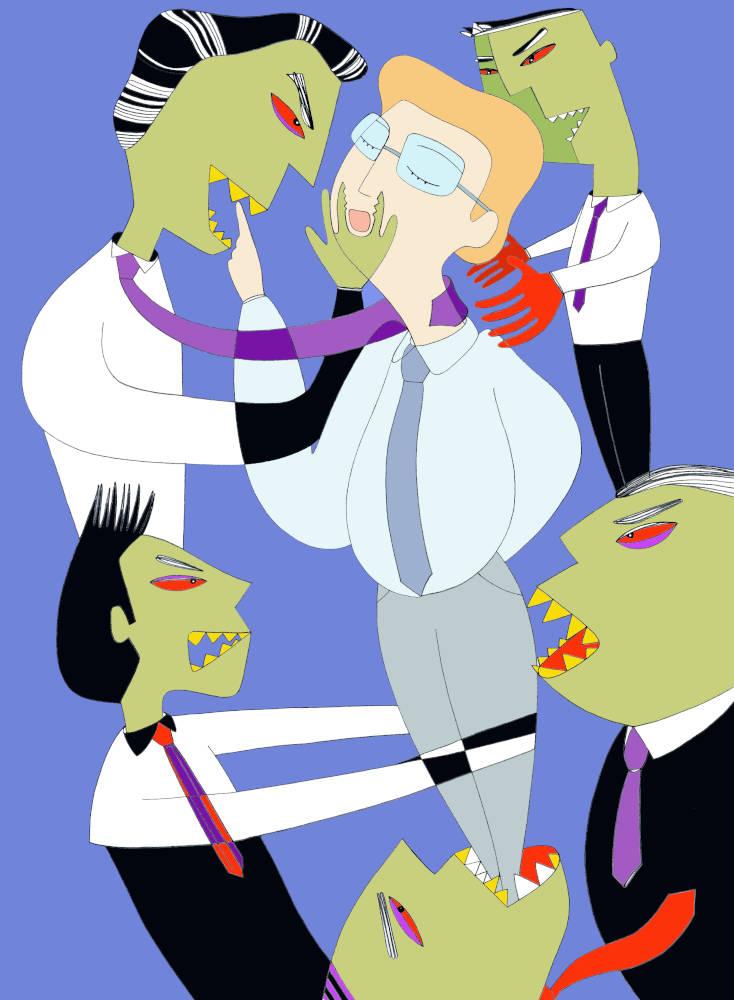 Illustration for Psicologia Contemporanea Magazine Jealousy at Work